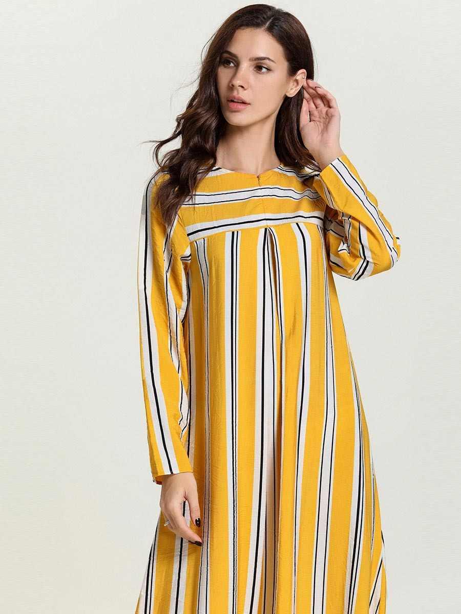 Женское мусульманское платье в полоску, большие размеры, марокканский кафтан, Дубайская модная абайя, элегантный исламский, арабский халат, платье VKDR1696