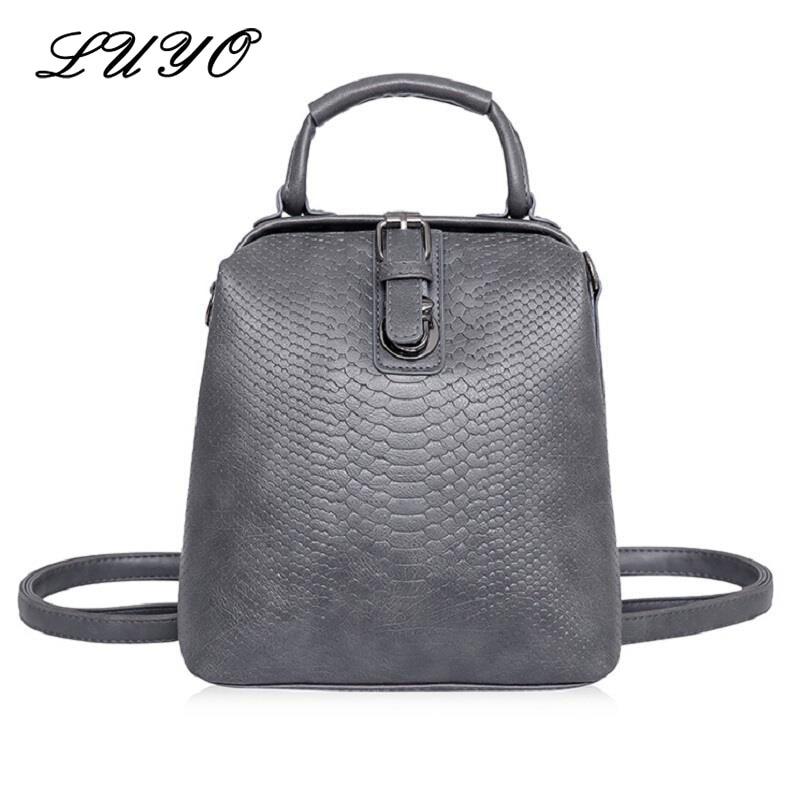 Luyo European Fashion Crocodile Women Feminine Small Backpack Female HASP Belt Bags PU Leather Rucksacks For