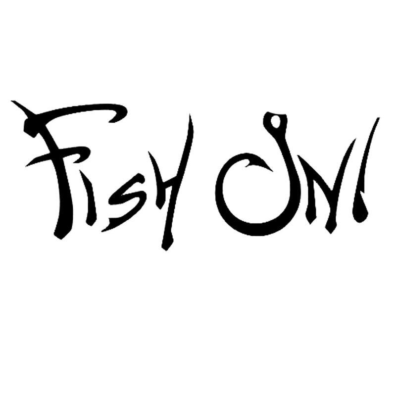 15.2 cm * 6.1 cm peixe na etiqueta decalque do vinil barco pesca caça decalques do carro de vinil adesivos acessórios preto tira C8-0742