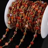 6mm,Natural Orange Red Agates Faceted Round bead Chain,Copper Brass Wire Wrapped Link Raw Gems Rosary Chain Necklace