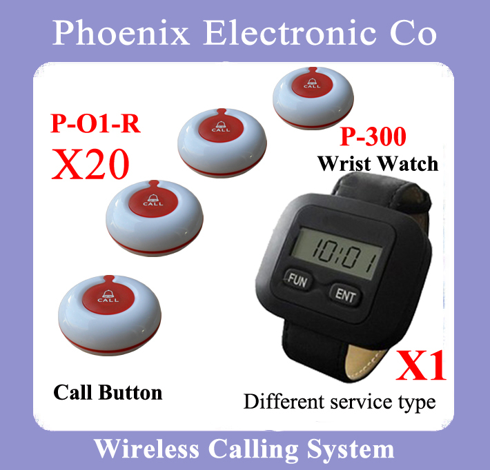 Wireless Guest Pager System For Restaurant Equipment with 20 Table Call Bell and 1 Pager Watch P-300 DHL Free Shipping restaurant pager watch wireless call buzzer system work with 3 pcs wrist watch and 25pcs waitress bell button p h4