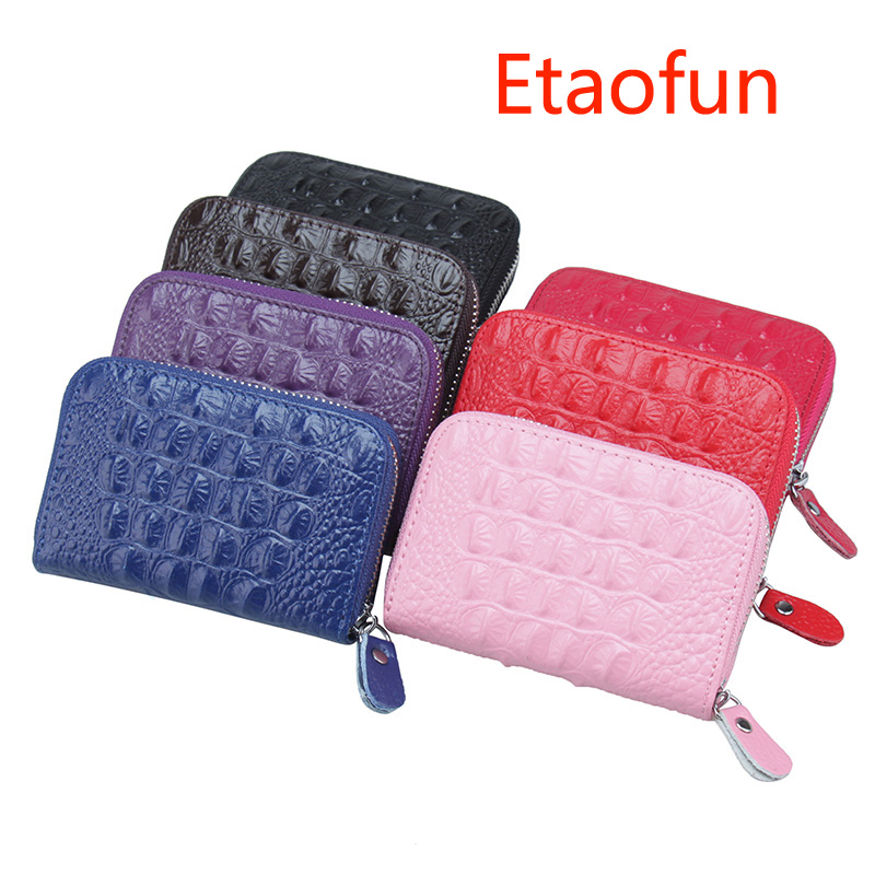 Etaofun fashion Crocodile pattern Coins Purse Genuine Leather Women Cards Holder Small Z ...