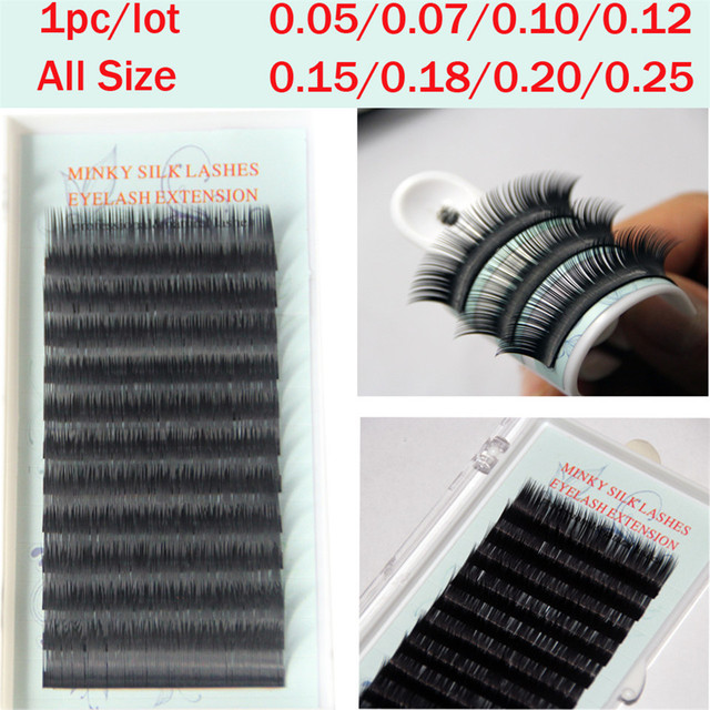 54b956808c0 1pc/lot All Size Faux Mink Eyelash Extensions Silk Eye Lashes 3d eyelashes  Individual False Eyelashes Super Soft Natural Look