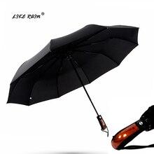 Как дождь мужчины большой складной автоматический зонт Имитация деревянной ручкой зонтик дождь Женщины ветрозащитный сильный Зонты UBY32