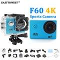 """Ação Da Câmera 4 K/24fps F60 Allwinner WiFi 2.0 """"170D impermeável Cam Capacete ir pro Estilo Esporte Subaquática câmera"""