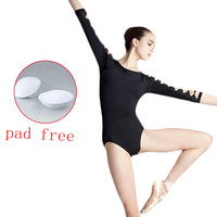 Sexy Black Gymnastic Unitard Adult Girl Backless Dance Bodysuit Ballet Leotards Long Sleeve Dance Wear