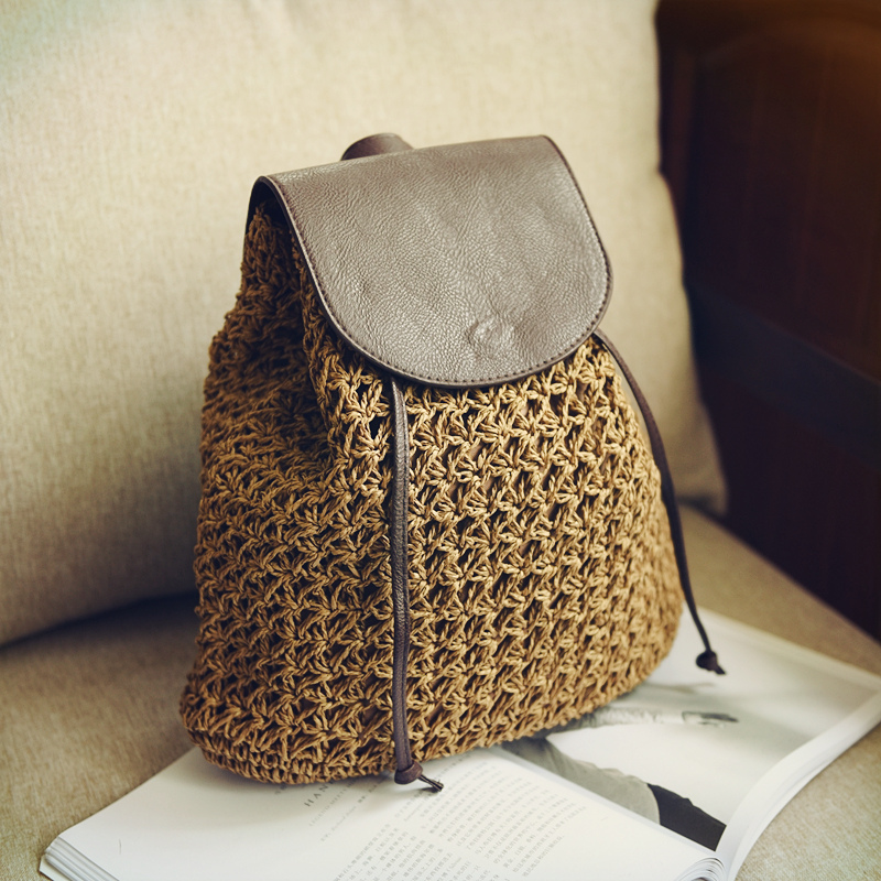 Fashion women summer flamingo rattan straw knitting backpack ladies beach package feminia Hobos casual sack bag
