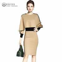 OL Elegant Bodycon Dress 2018 Spring Women Detachable Shawl Long Sleeve Slim Spring Autumn New O Neck Midi Party Dress Okb463