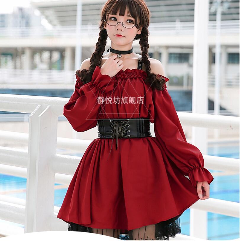 Style gothique robe Slash cou Mince rétro robe rétro croix fille de mode sweet Lolita robe