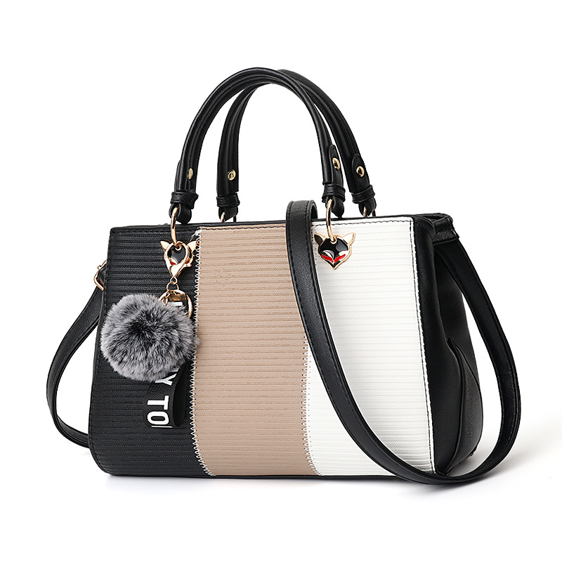 HTB1inPHbdfvK1RjSszhq6AcGFXa8 - Women Hairball Ornaments Totes Patchwork Handbag Party Purse Ladies Messenger Crossbody Shoulder Bags Women Handbags