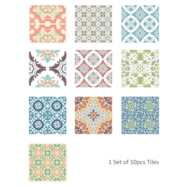 Us 9 91 5 Off 10pcs Vintage Square Self Adhesive Tile Stickers Mediterranean Style Vinyl Home Decor Kitchen Furniture Decal In Wall