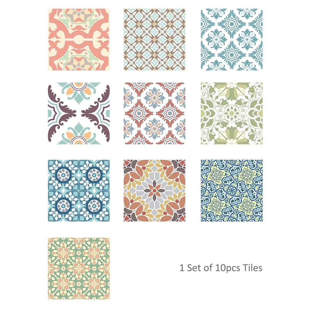 10Pcs Vintage Square Self Adhesive Tile Stickers Mediterranean style Self Adhesive Vinyl Home Decor kitchen furniture Decal