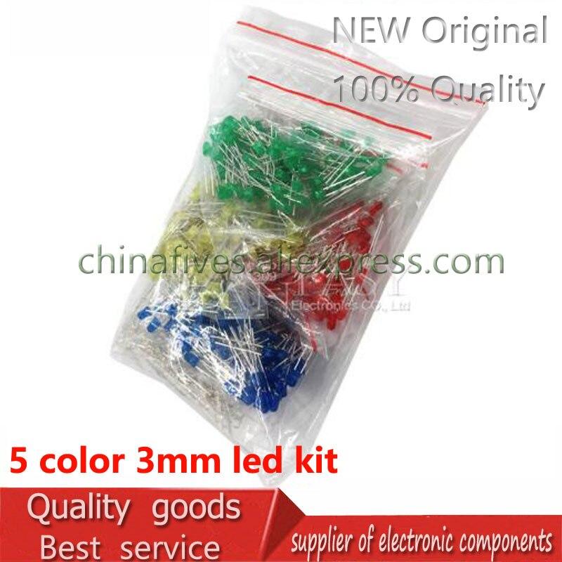 500 Pcs 3 MM Diodo LED Kit de Varias Cores Vermelho Verde Azul Amarelo Branco
