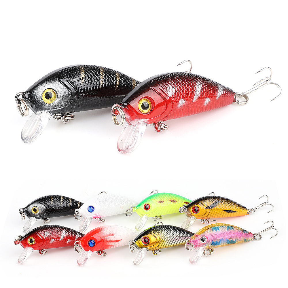 DONQL 2pcslot Minnow Fishing Lure 4.4cm 3.6g Wobblers Crankbait Artificial Hard Baits Topwater Floating Fishing Tackle          (4)