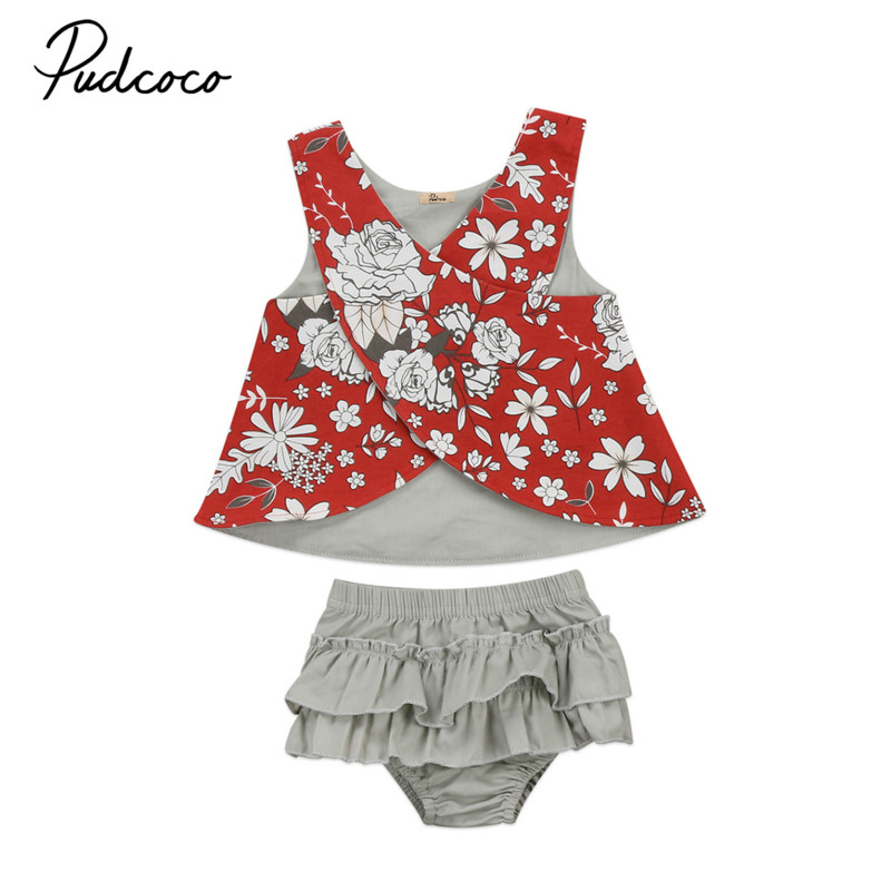 Flower Infant Baby Girls Newborn Summer Outfits Clothes Cotton Vest Tops Blouse +Tutu Shorts Romper 2Pcs Kids Clothing Sets 0-2Y 2pcs kids baby girls summer outfits lace tops floral shorts pants clothes sets children kid girl cute clothing