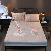 Floral Printing Waterproof Sheets Bedding Linens Elastic Bands Mattress Protector Waterproof for Bed 100% Cotton Mattress Topper
