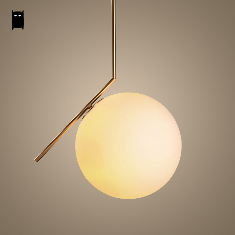 где купить Gold Iron Milky Glass Ball Globe Pendant Light Fixture Modern Nordic Scandinavian Hanging Light Luminaria Design Dining Room по лучшей цене