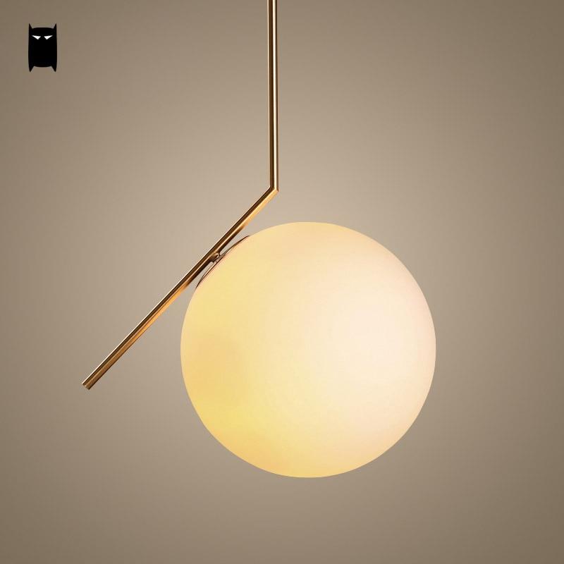 Gold Iron Milky Glass Ball Globe Pendant Light Fixture Modern Nordic Scandinavian Hanging Light Luminaria Design Dining Room