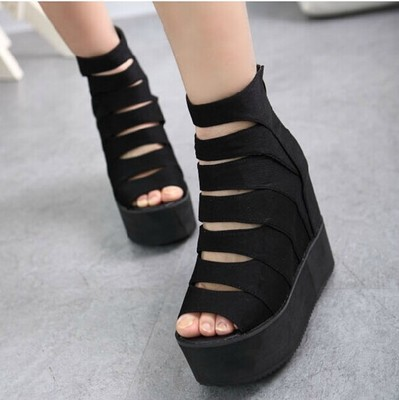 2015 spring and summer open toe shoe elevator platform shoes wedges sandals female shoes zipper flat