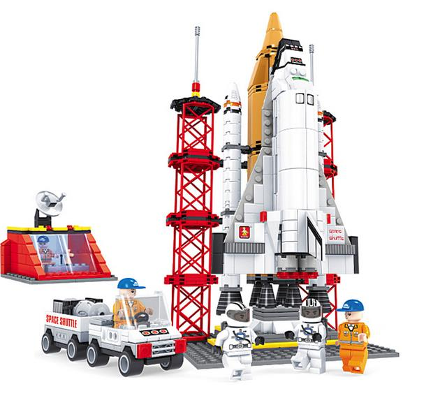 560 Pcs Model building kits compatible with lego Space Ship Shuttle Launching Base blocks Educational model building toys lepin 16014 1230pcs space shuttle expedition model building kits set blocks bricks compatible with lego gift kid children toy
