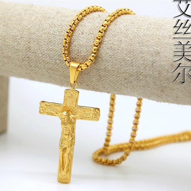 Jhnby gold color plated jesus cross pendants high quality fashion jhnby gold color plated jesus cross pendants high quality fashion hiphop franco 76cm long chain aloadofball Images