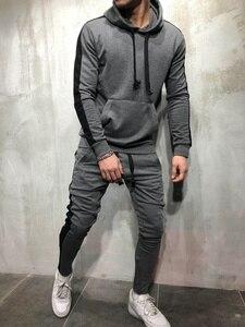 Image 5 - ZOGAA 2 pièces Définit Survêtement Hommes 2019 Automne Hiver Sweat À Capuche + Pantalon Cordon Mâle Coton Solide Hoodies Doux Streetwear