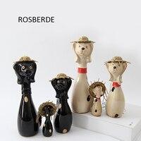3 pc/lote Família Cão miniaturas figuras de Cerâmica artesanato decoração de casa decoração do jardim por atacado presente de casamento presente de aniversário D002