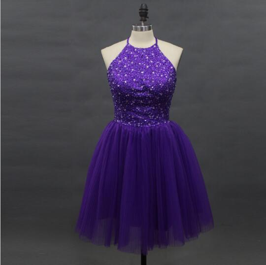 New Arrival Elegant Beaded Purple   Cocktail     Dresses   2018 Halter Off Shoulder Sleeveless Backless Tull Short Prom Party Gowns