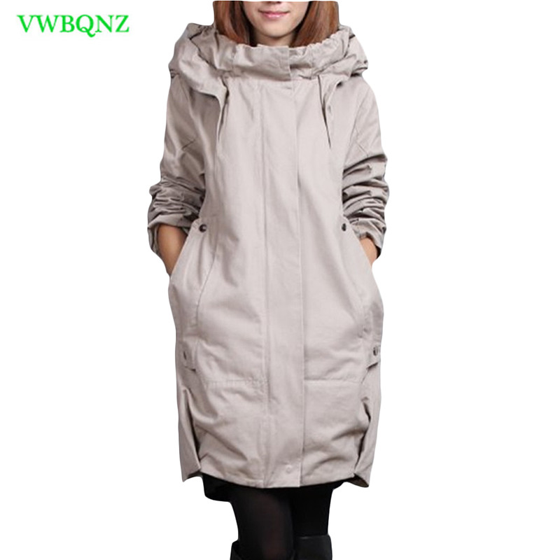 Grande taille coupe-vent manteau femmes ajouter coton lâche Long Trench manteaux femmes coréen décontracté à capuche Cardigan gris pardessus A217