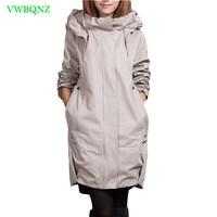 Plus size Windbreaker coat Women Add Cotton Loose Long Trench coats Women's Korean Casual Hooded Cardigan Gray Overcoats A217