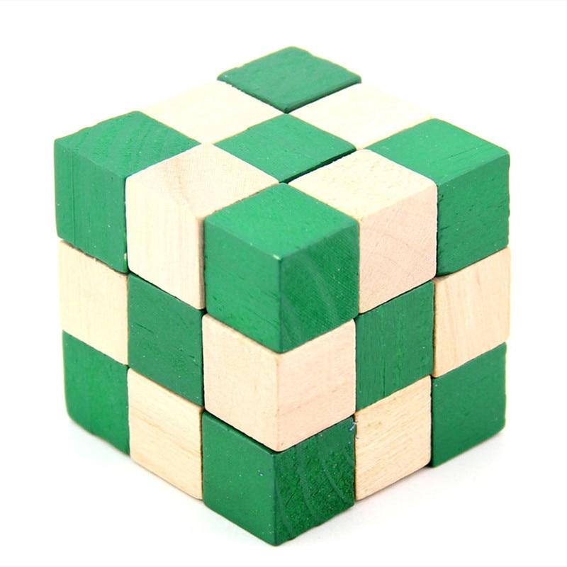 Wooden Intelligence Kongming Lock Game Burr Puzzle Unlock Key Magic Trick Cheap