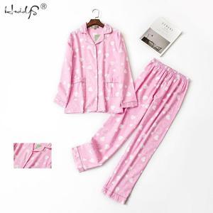 Image 3 - סתיו חורף ארוך שרוול פיג מה סטי נשים של כותנה קריקטורה הלבשת חמוד חתול Pyjama חליפת Femme מקרית Homewear 2 חתיכה סט