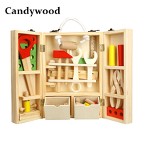 Candywood Wooden Toolbox Wooden 3D Puzzle Toolbox Service Simulation toys for Baby kids Educational toys boy gift Tool box toy