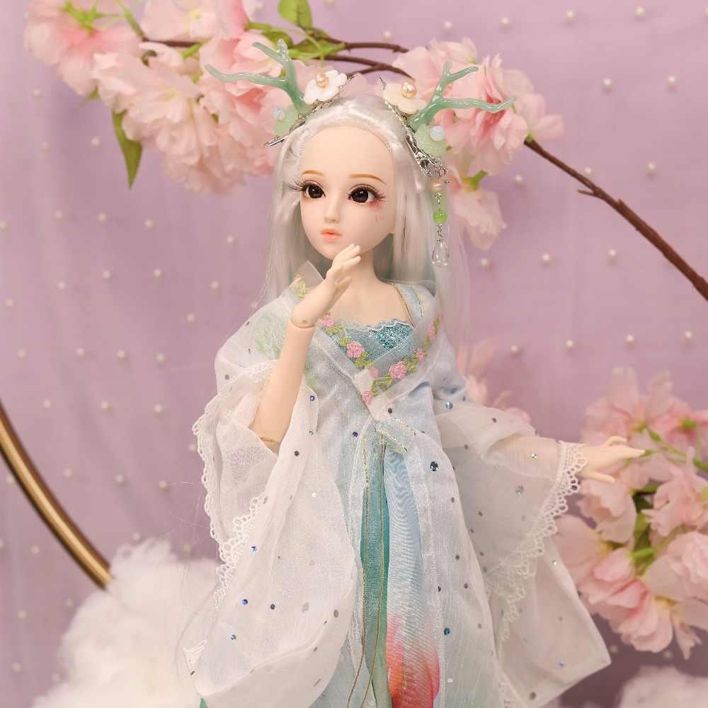 Dq bjd 45cm diário rainha 1/4 bjd estilo chinês roupas headdress handsets, corpo comum pele branca, menina dragão pouco