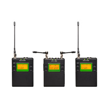 2 Channel DSLR Camera Wireless Lavalier Microphone System for Outdoor Recording, Interview, Video Shooting, Broadcast