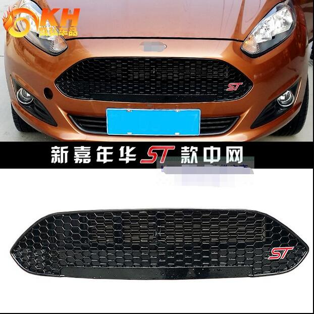 For Ford New Fiesta 2013 2014 2015 ABS Front grille Black Varnish ST Refitting Grill Racing Grills Car styling 10th front bumper grill abs material middle grille racing grills type r grill mesh case for honda civici 2016 2017