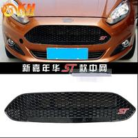 For Ford New Fiesta 2013 2014 2015 ABS Front grille Black Varnish ST Refitting Grill Racing Grills Car styling