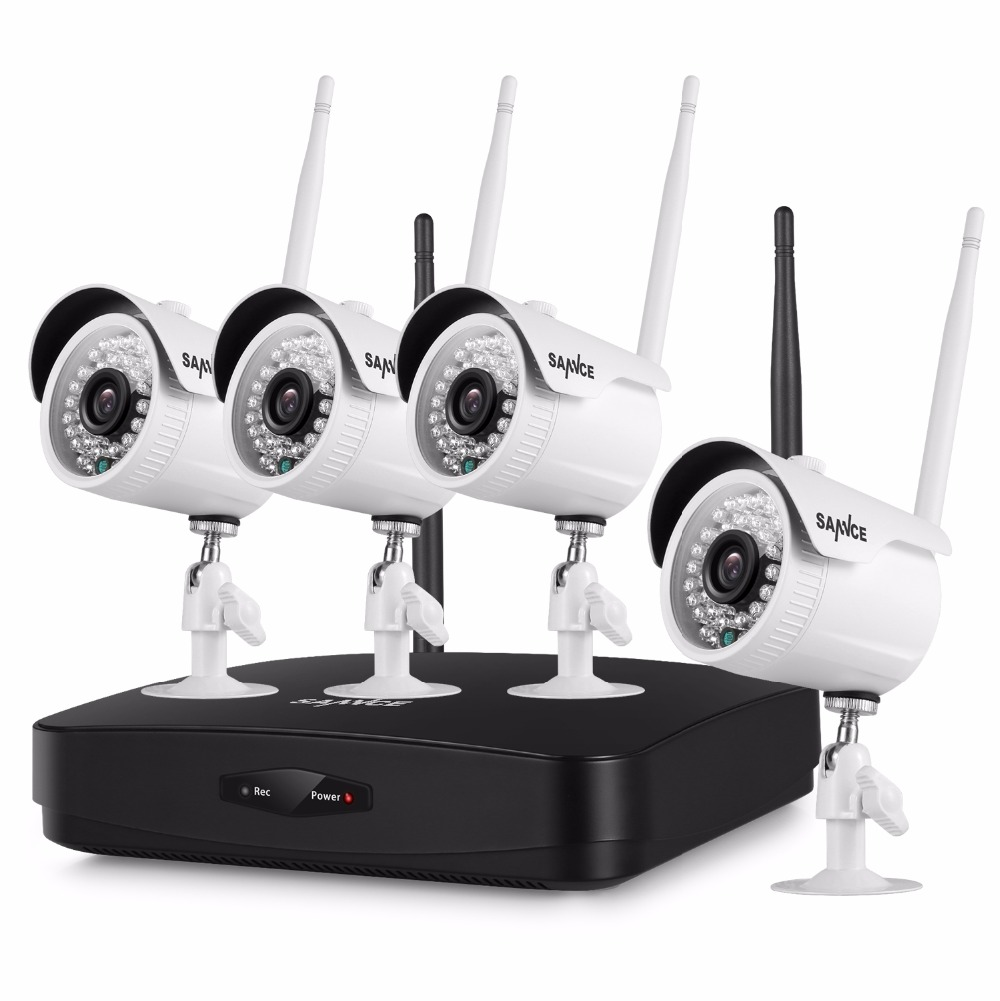 SANNCE 4CH 1080P Wireless NVR Kit 4pcs 1080P 2mp Wifi IP Camera IR-CUT IP66 CCTV Camera home Security System Surveillance Kits 4 pcs 1080p wireless ip camera 1pcs 8ch nvr kit