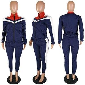 Image 5 - Kadın spor Casual uzun kollu spor giyim sonbahar eşofman kadın Yoga seti spor giyim fermuar spor giyim mujer