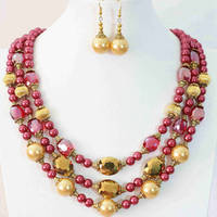 Charms Rose Red Gold Shell Round Beads Oval Crystal Newly Design Earrings 3rows Necklace Jewelry Set