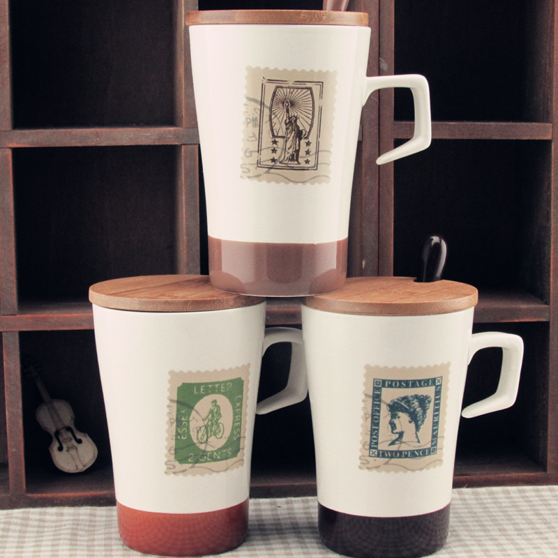 office cups. Zakka Retro Stamps Ceramic Cup With Cover Glass Stainless Steel Mug Office Sent Lid Cups And Mugs Coffee Thermo Cute K Cerveja-in From Home \u0026 Garden On