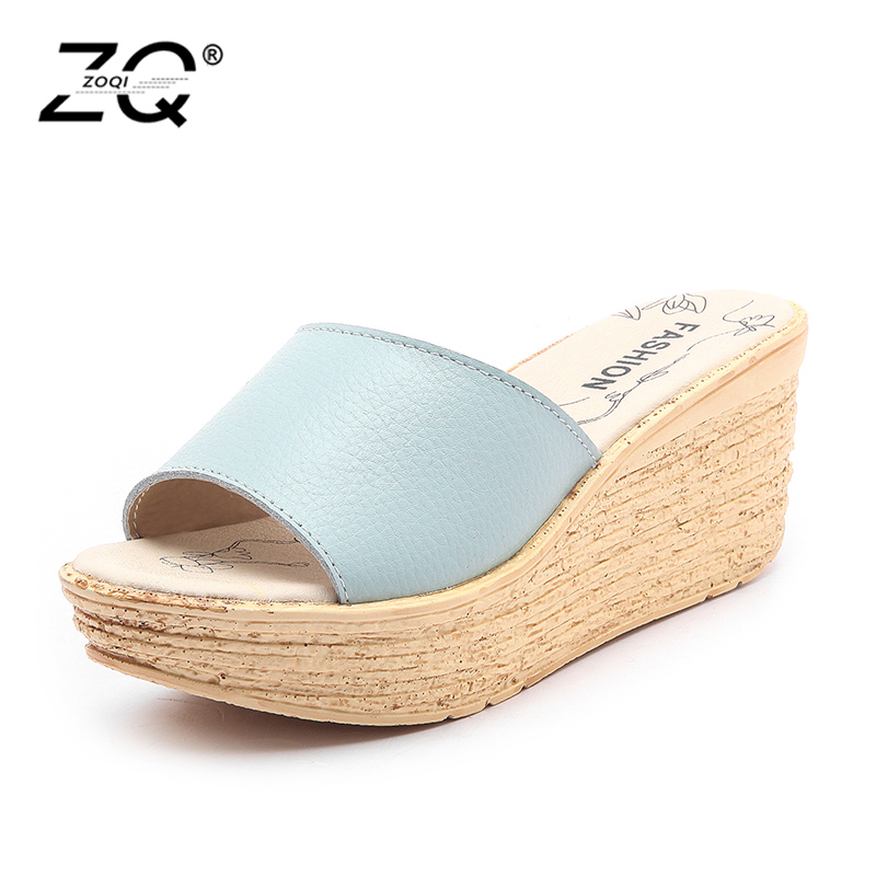 Women Summer Slides Fashion Leisure Shoes Women Platform Wedges Peep Toe Sandals Thick Slippers Leather Casual Slippers women sandals 2017 summer shoes woman wedges fashion gladiator platform female slides ladies casual shoes flat comfortable