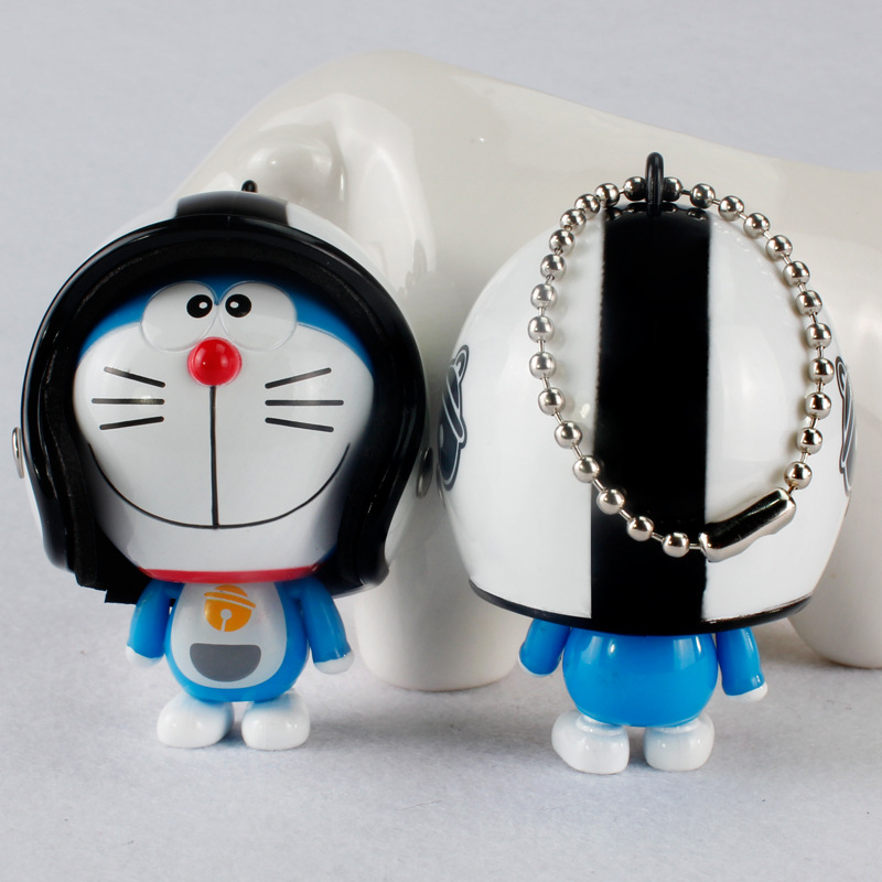 Hot Sale Cartoon machine cat Keychain Lovely Bag Charm Accessories Wearing Motorcycle cap Cat Key Chain Animal Car KeyRing K1720
