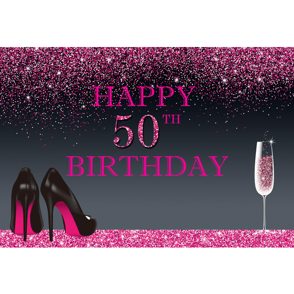 <font><b>Happy</b></font> <font><b>50th</b></font> <font><b>Birthday</b></font> <font><b>Backdrop</b></font> Printed Pink Confetti Pieces Champagne High Heels Customized Party Themed Photo Booth Background image