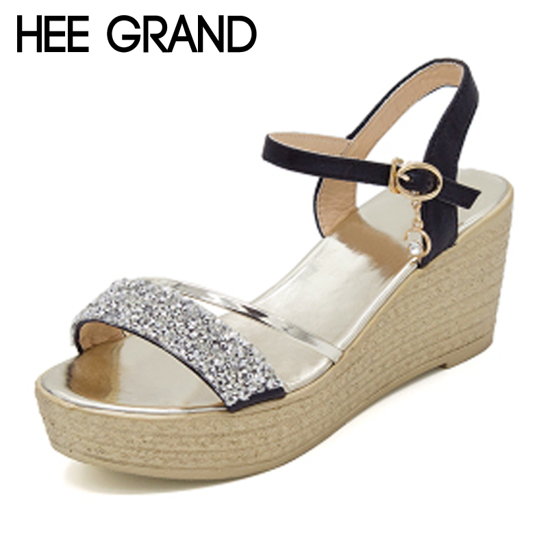 HEE GRAND Summer Glitter Gladiator Sandals 2017 Casual Wedges Bling Platform Shoes Woman Sexy High Heels Beach Creepers XWX5813 phyanic crystal shoes woman 2017 bling gladiator sandals casual creepers slip on flats beach platform women shoes phy4041