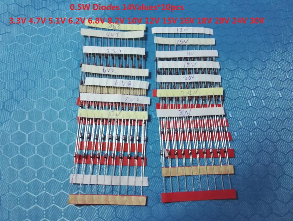 Набор диодов 3,3 В ~ 30 В (14 значений * 10 шт. = 140 шт.) 0,5 Вт 1 Вт ассорти 1/2 Вт Набор diy BZX55C Диод Зенера 6,8 в 8,2 в 10 в 12|Диоды|   | АлиЭкспресс