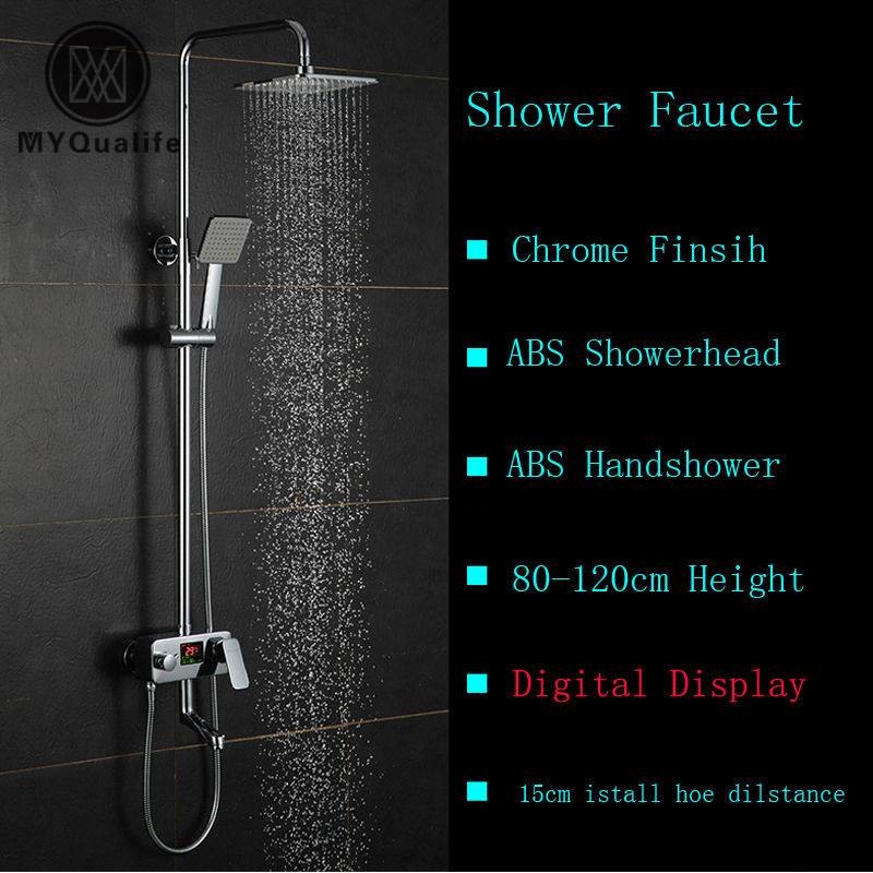 Digital Shower Mixer With Display Bath Shower Faucet System Wall Mount  Mixer Digital Display Shower Panel