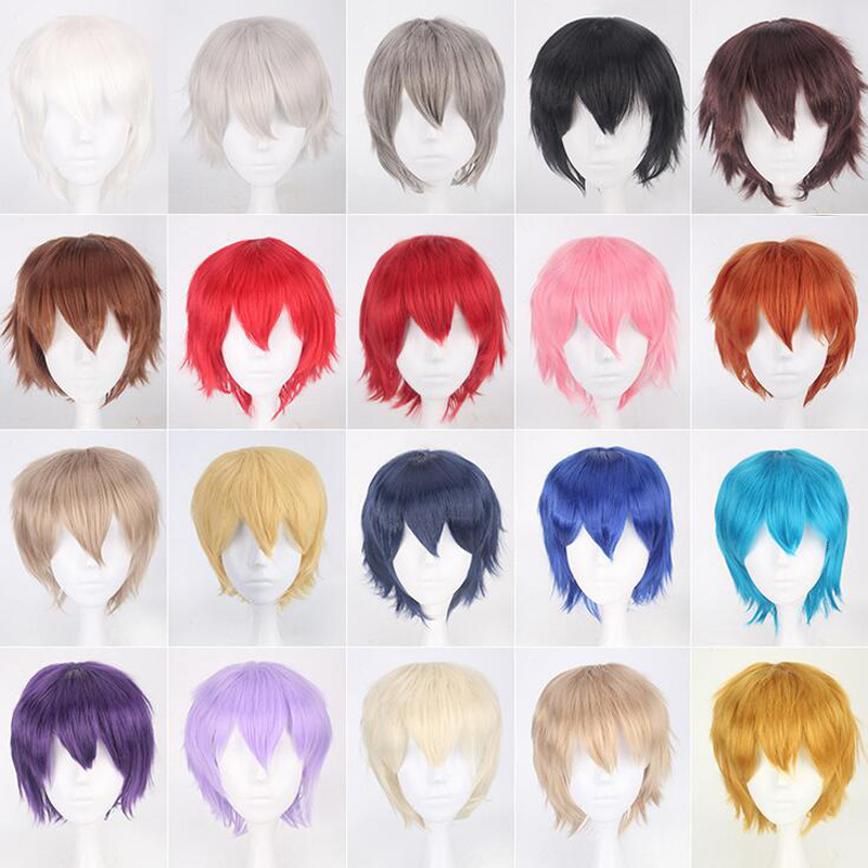 30cm Short Wig Black White Purple Blue Red High Temperature Fiber Synthetic Wigs Costume Party Cosplay Wig Multi 12 Color