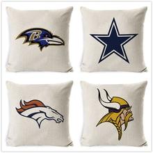 Fokusent Football Team Logo Printed Cushion Cover Linen Cotton Throw Pillow Cases Home Decor Sofa Car Seat Fans Best Gift