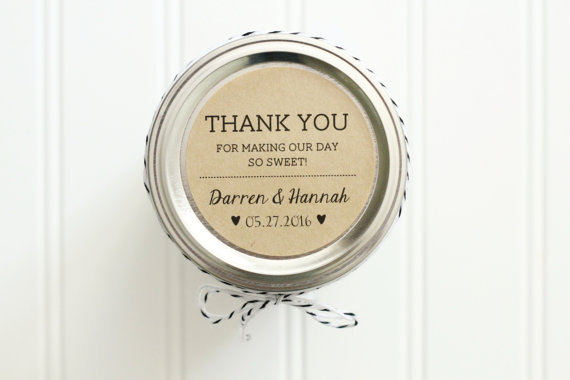 Personalized Thank You Wedding Favor Round Circle Sticker Kraft Color Labels - Honey Jar Wedding Favors, Customzied Name & Date